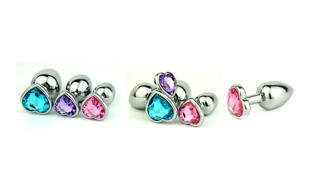 Stainless Steel Jeweled Heart Butt Plugs aeea797d-41f5-4f1c-b05e-7aa0c39fad82