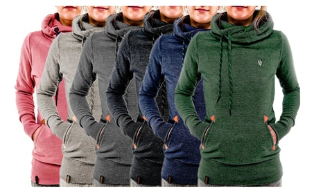 Women's Stylish Solid Hoodie Funnel Neck Pocket Pullover Sweatshirt e0b79994-52a3-40a1-8c6f-553b996330e0