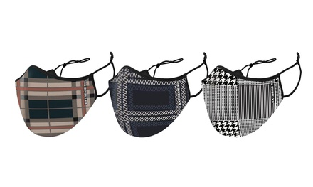 Two-Layer Plaid Design Reusable Face Mask With Adjustable Earloop (3-Pack)