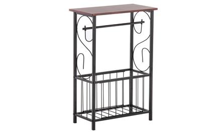 Bathroom Floor Storage Side Corner Table Shelf Toilet - Metal Frame & Wood Top