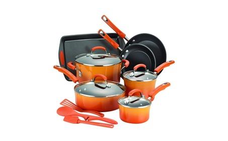 Rachael Ray 14-Piece Hard Enamel Nonstick Cookware Set, Orange 19c08945-5c8b-45a5-9676-78213671f743