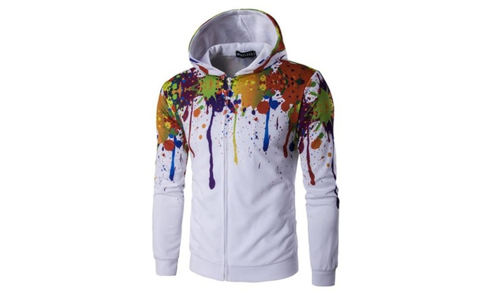 Men's Printed Solid Casual Zip Closure Hoodies