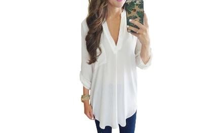 Blouse Chiffon Long Sleeve T Shirt Casual Loose Top