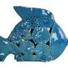Ceramic Fish Figurine with Floral Cutout Design Gloss Finish