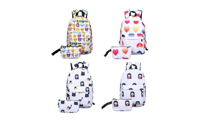 Emoji Face Travel Backpack – 2 PCs (include Backpack and Clutch Bag)