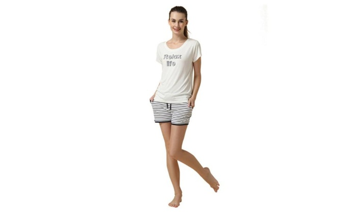 Men's Slim Fit Casual Thigh Length Short Sleeve Pajamas Set