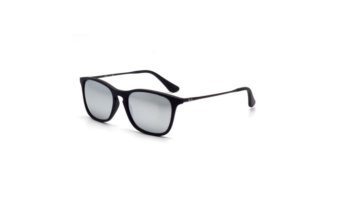 Ray-Ban RB4187 Chris 54mm Sunglasses (Black/Blue Silver Mirror)