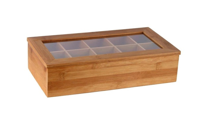 Estilo Bamboo Tea Storage Box 10 Equally Divided Compartments ...