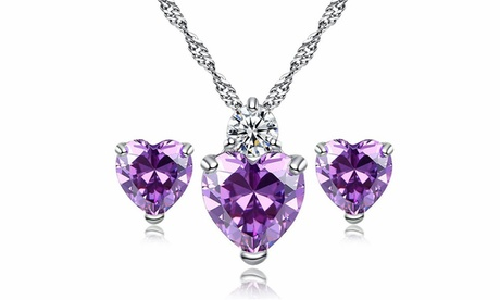 Leo Rosi Crystal Heart Jewelry Set Necklace and Earrings