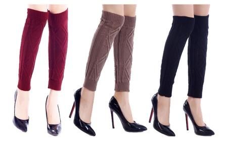 Women's Warm Knit Leg Warmers with Diamond Print bcd7ef80-937d-48e3-8fa2-c6f1c84ba2cb