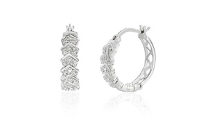 Diamante Diamond Accent Textured Hoop Earring in Sterling Silver