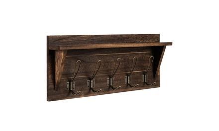 Rustic Wooden Wall-Mounted Coat Rack Entryway Hanging Shelf w/5 Dual Hooks