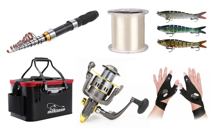 Fishing Pole and Reel Combos Fishing Lures, Fishing Box, lines and Gloves Gear