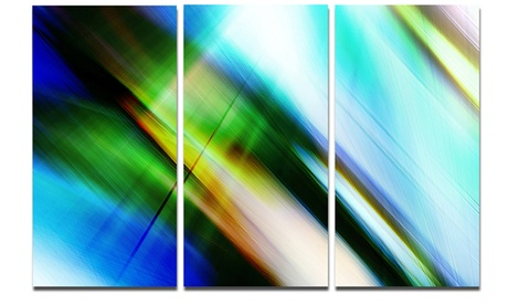 Rays of Speed Blue Green Abstract Metal Wall Art 36x28 3 Panels d64f798b-ec43-4aa7-9003-8757412fef1d