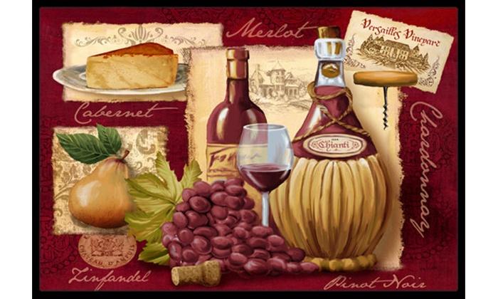 Carolines Treasures Red and White Wine on Black Doormat 24 H x 36 W Multicolor