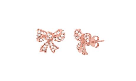 Sterling Silver CZ Bow Post Earring 15803c1a-791d-4184-8b5b-419f3e9f4b28