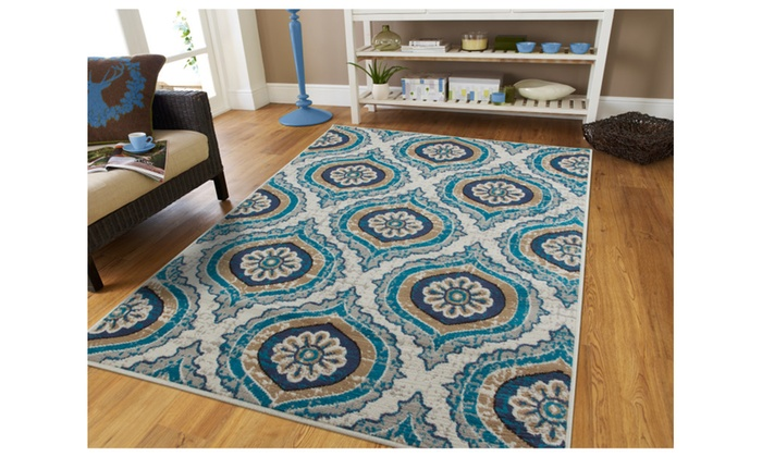 Modern Beige Area Rug 5x8 Blue Rugs Medallion Pattern