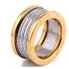 Antique Retro Two Color Stainless steel  Unisex Ring