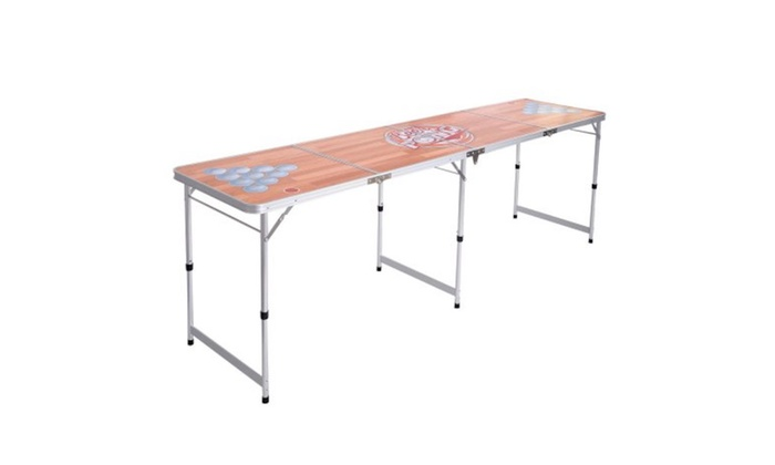 Costway Foldable Aluminum 8 Folding Beer Pong Table Portable Outdoor Groupon