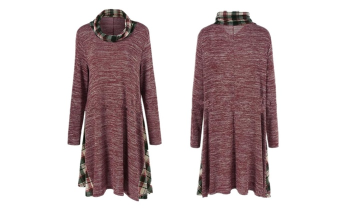 Plaid Stitching Piles Collar Loose Blouse