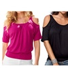 Women Off Shoulder Tops Short Sleeve T-Shirt Slim Tees Casual Blouse