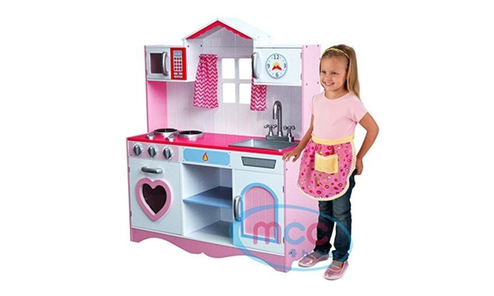 Large Girls Kids Pink Wooden Play Kitchen Childrenu0027s Role Play Pretend ...