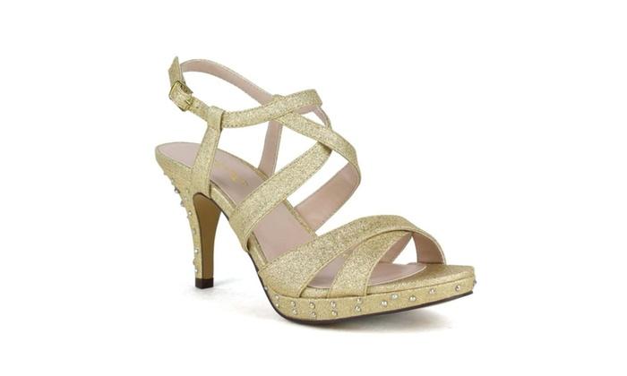Celeste Women's SANYO-07 T-Strap High kitten heel shining diamond sand