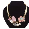 Crystal Flower Leaves Imitation Pearl Pendant Necklaces