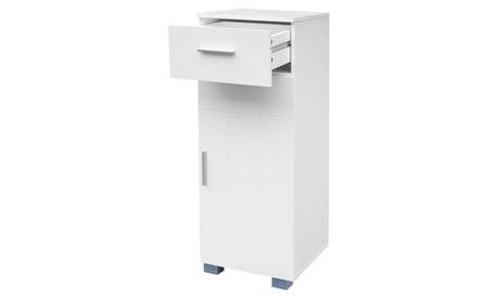 Bathroom Floor Storage Cabinet Organizer Unit with Drawer and Door, White