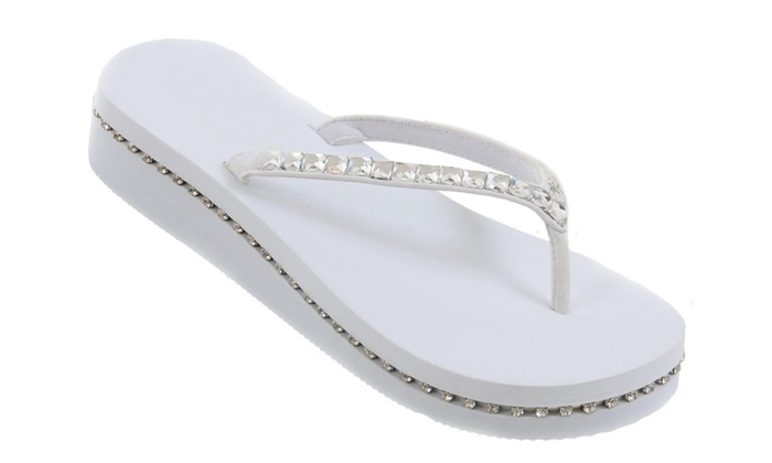 Faux Rhinestone Bling Wedge Flip Flop Slide Platform Wedding Sandals
