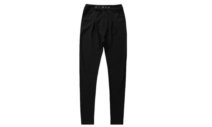 Men's Casual Long Solid High Rise Fashion Pants - Black / One Size