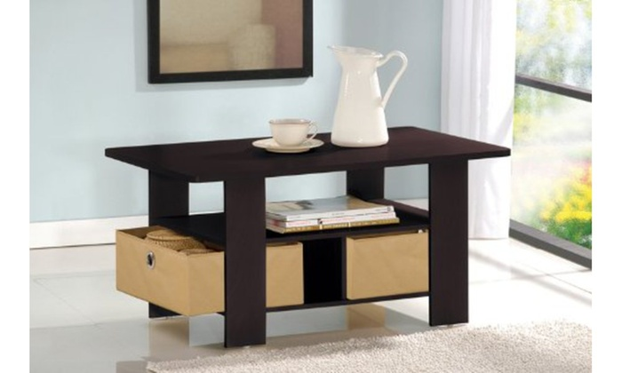Off On Furinno Coffee Table With Drawer Groupon Goods - Furinno coffee table