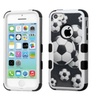 Insten Soccer Ball Collage Dual Coated Silicone Case For Iphone 5c