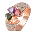 Magic Heart Clover Zircon Crystal Flower Rose Gold Color Ring For Wome