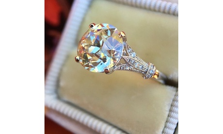 18K White Gold 3Ct Round Moissanite Solitaire Engagement Ring