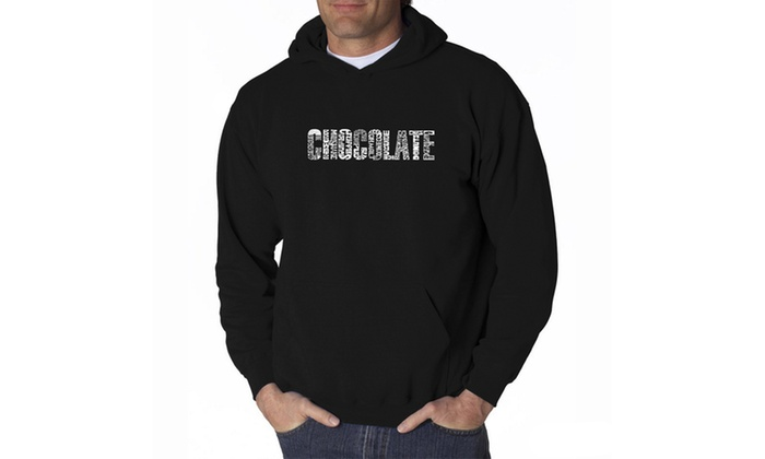 Men's Hooded Sweatshirt - Different foods made with chocolate