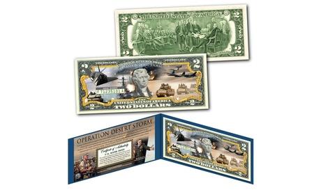 OPERATION DESERT SHIELD Desert Storm Persian Gulf War Genuine Two Dollar 2 Bill