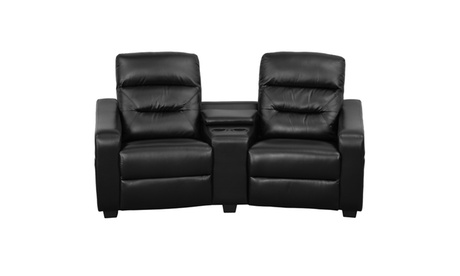Futura Series 2-Seat Reclining Leather Theater Seating Unit with Cup Holders 234d56b1-1219-42a1-ac99-d0019954fff2