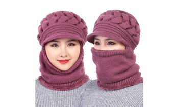 Women's Winter Woolen Hat Plus Velvet Thickening Warm Windproof Cycling Hat