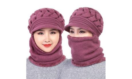 Women's Winter Woolen Hat Plus Velvet Thickening Warm Windproof Cycling Hat