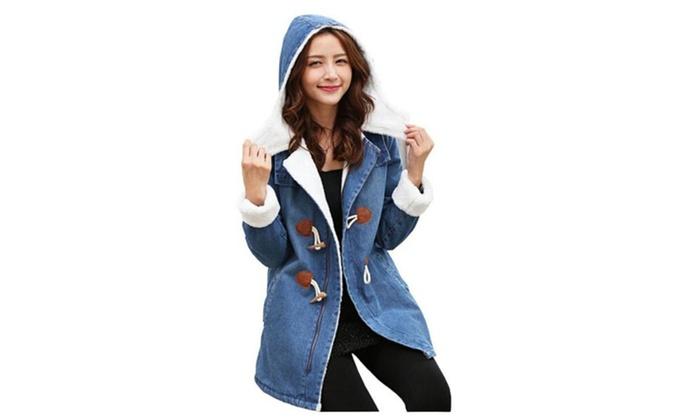 Women's Hooded Fleece Long Denim Coat