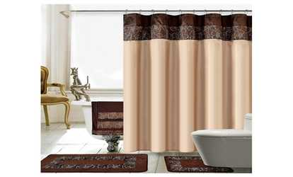 Shop Groupon Lilian 18 Piece Embroidery Shower Curtain Set