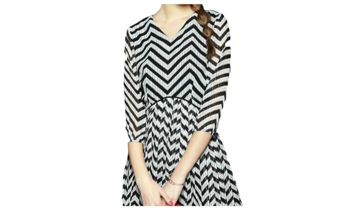 Women's HiddenZipper Blouson Long Sleeve Mid Rise Dresses