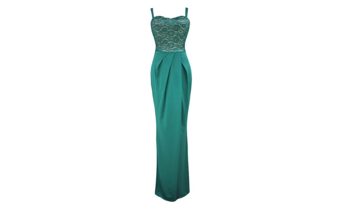 Women's Green Lace Bustier Top Split Maxi Party Dress