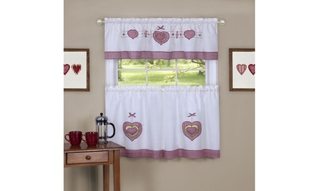 Gingham Hearts Embellished Tier and Valance Window Curtain Set - 56x24 - Multi 6499d8fc-d4b4-4e3f-b601-0f88e2fc9ce8