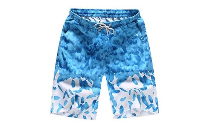 Men's Summer Beach Swimmer Shorts Shark Printing Swim Trunks
