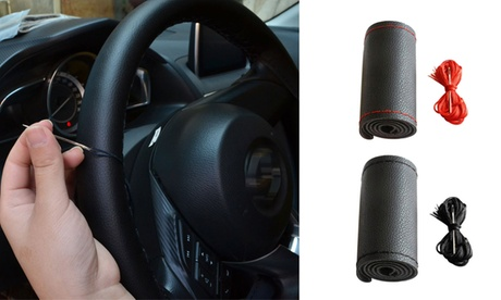 15inch Car DIY Cowhide Steering Wheel Cover Protect Car with Needle and Thread