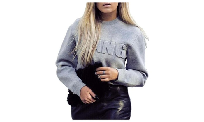 Women's Solid Round Neck Long Sleeve Letters Pullover Sweatshirts