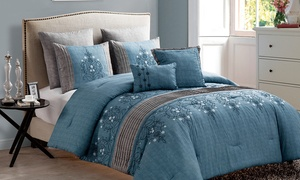 Chambray Embroidered Comforter Set (7-Piece)