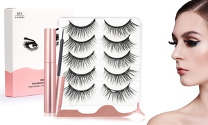 5 Pairs of Lashes Voluminous Magnetic Eyelashes with Eyeliner and Tweezer Kit